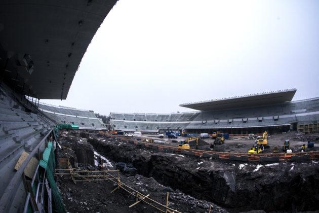 Olympiastadionin työmaa Helsingissä 3. maaliskuuta 2017.