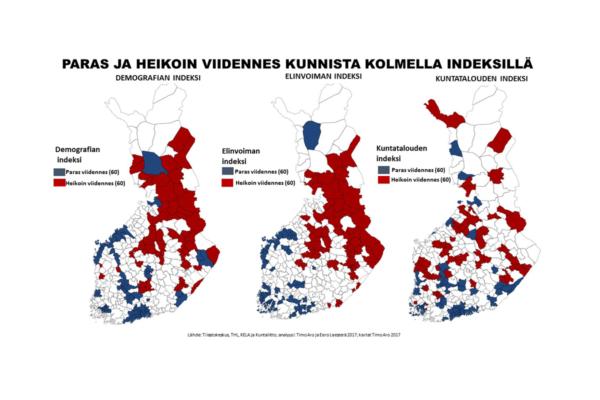 Suomen 60 parasta ja heikointa kuntaa kolmen suhdeluvun kautta. Kunnat eivät välttämättä ole samalla tähtiluokituksella superkartassa, joka löytyy jutun keskeltä.