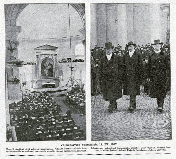 Kuvia valtiopäivien avajaisista Helsingissä 11. huhtikuuta 1917. Kuvakaappaus Suomen Kuvalehdestä 16/1917.