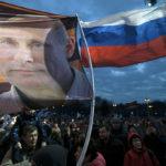 Krimin miehityksen vuosipäivää juhlittiin Moskovassa Venäjällä 18. maaliskuuta 2017.