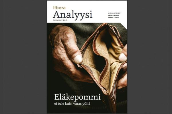 Liberan Eläkepommi ei tule kuin varas yöllä -pamfletin kansilehti.