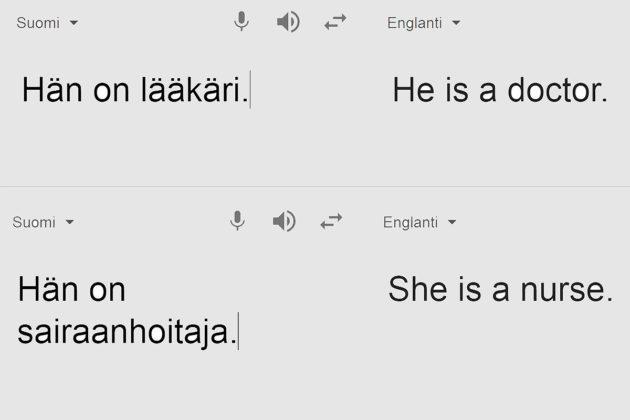 Ruutukaappaukset Googlen käännöksistä. Lääkäri kääntyy mieheksi (he), sairaanhoitaja naiseksi (she).
