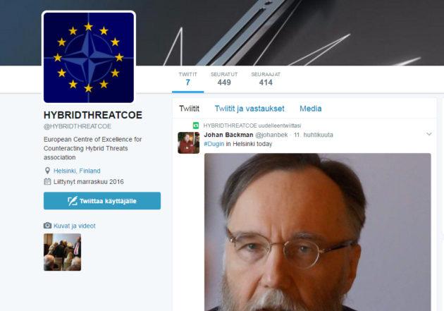 Hybridiosaamiskeskuksen engalnninkielisellä nimellä Hybridthreatcoe on olemassa Twitter-tili, joka lähinnä välittää dosentti Johan Bäckmanin tviittejä.