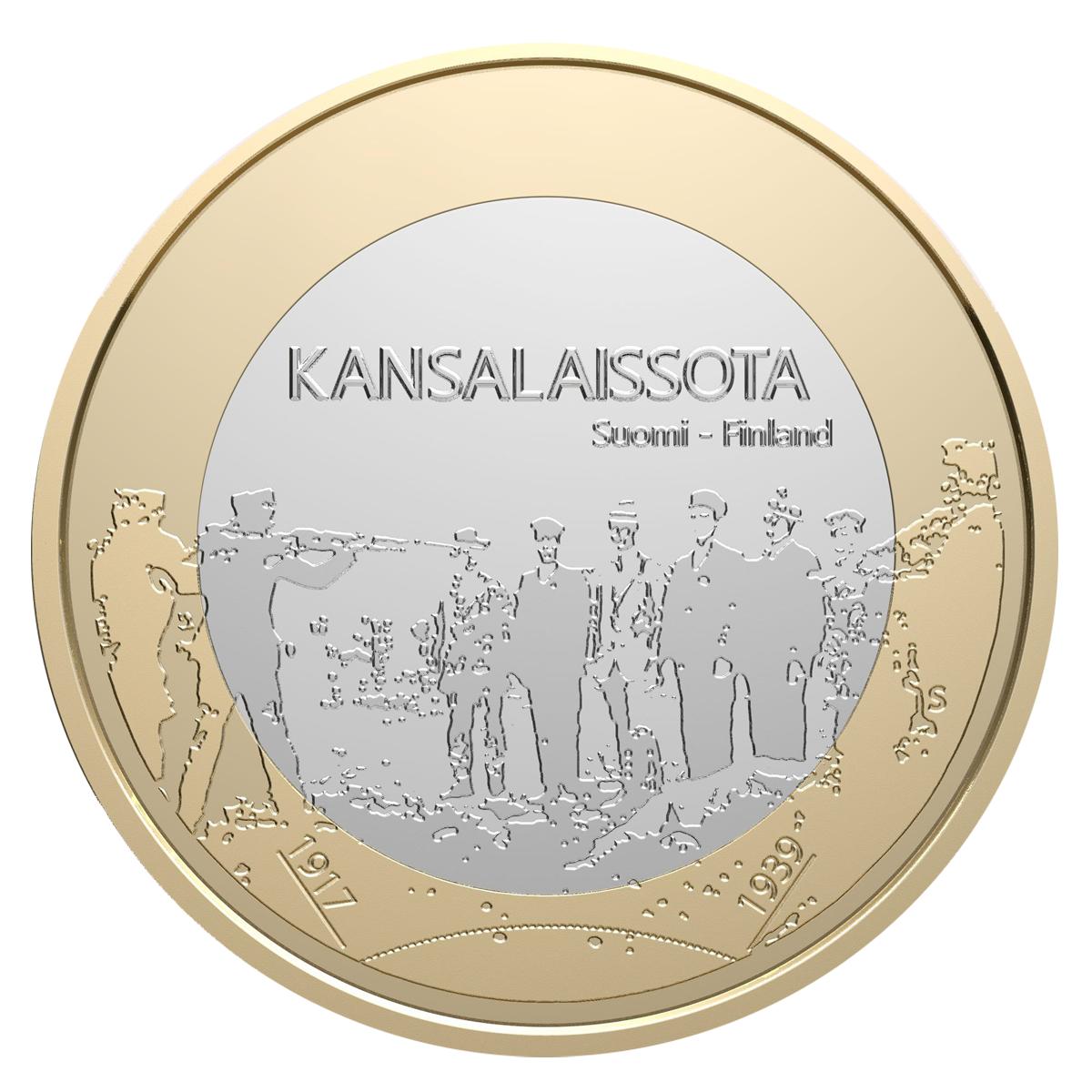 Rahapajan Itsenäisyyden vuosikymmenet -rahasarjan ensimmäinen juhlaraha kertoo vuosista 1917-1939.