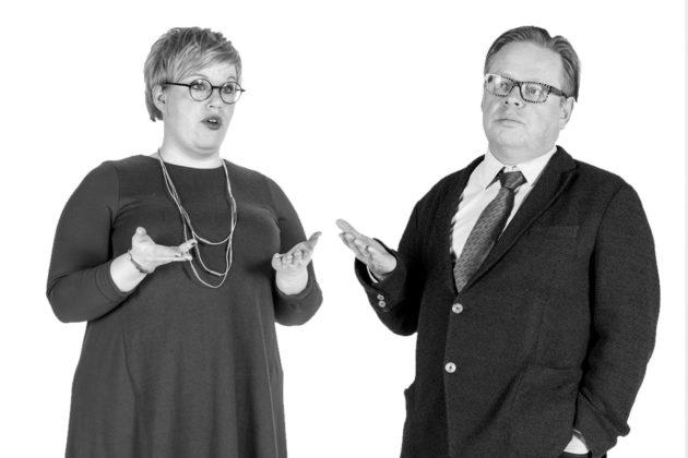 Annika Saarikko (kesk) ja Juhana Vartiainen (kok).