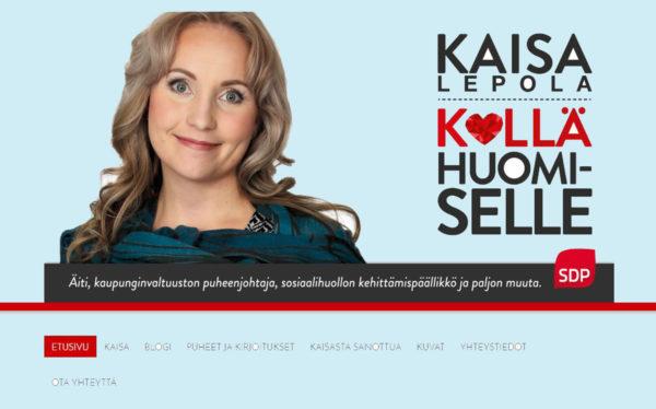 Ruutukaappaus Kaisa Lepolan verkkosivuilta.