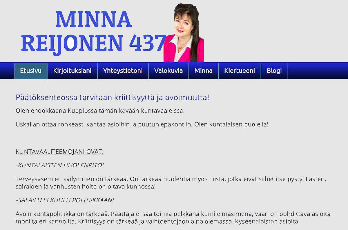 Ruutukaappaus Minna Reijosen verkkosivuilta.