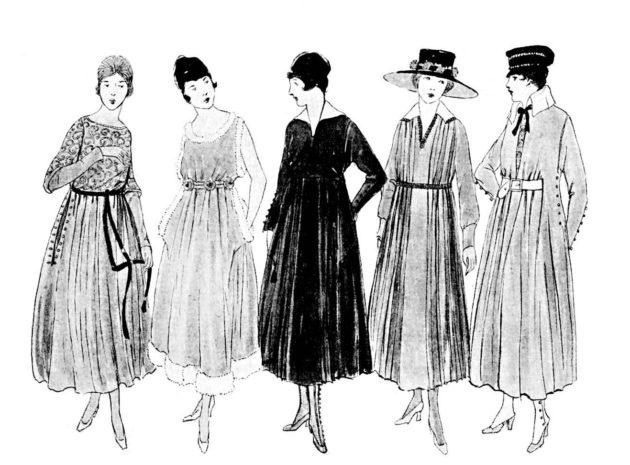 """Suomen Kuvalehti esitteli """"lukijattarille"""" mekkopukuja vuonna 1917."""