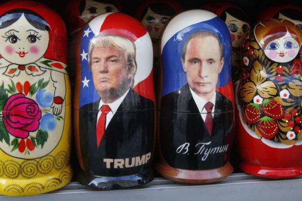 Putin- ja Trump-maatuskat pietarilaisessa myymälässä Venäjällä tammikuussa 2017.
