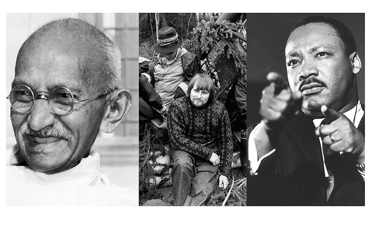 Kansalaistottelemattomia: Mahatma Gandhi, Ville Komsi ja Koijärvi-liike sekä Martin Luther King.