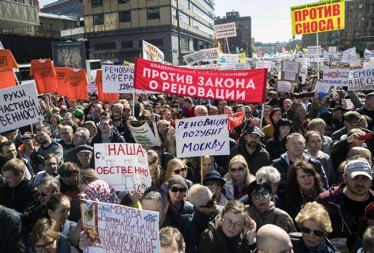 Moskovan kaduilla oli tuhansia mielenosoittajia 14. toukokuuta 2017.