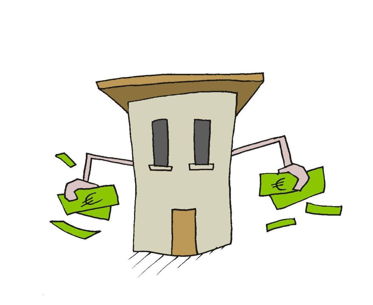 Piirroskuva: talo, jolla on kädet ja niissä seteleitä.