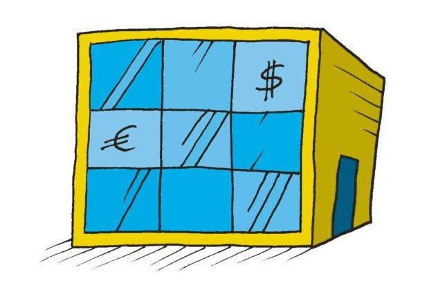 Piirroskuva: talo, jonka ikkunoissa ovat dollarin ja euron merkit.