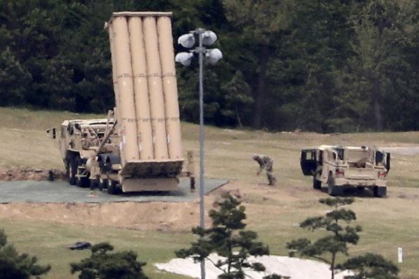 Yhdysvaltain Thaad-ohjuspuolustusjärjestelmää Seongjussa Etelä-Koreassa 2. toukokuuta 2017.
