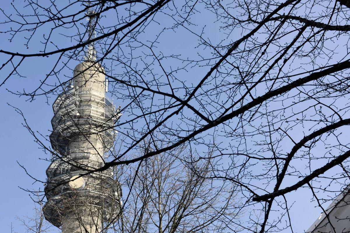 Yle:n linkkitorni 15. toukokuuta 2017. Edessä puiden oksia.