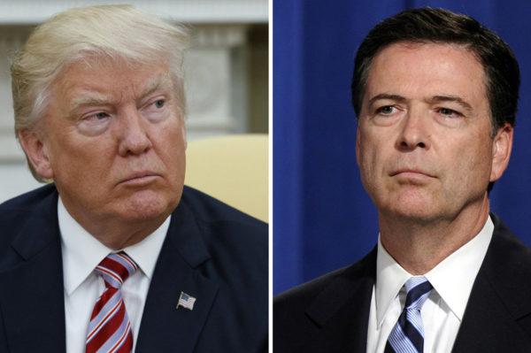 Yhdysvaltain presidentti Donald Trump (vas.) ja entinen FBI:n johtaja James Comey.