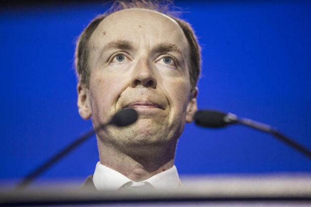 Perussuomalaisten tuore puheenjohtaja Jussi Halla-aho piti linjapuheen puoluekokouksessa Jyväskylässä 11. kesäkuuta 2017.