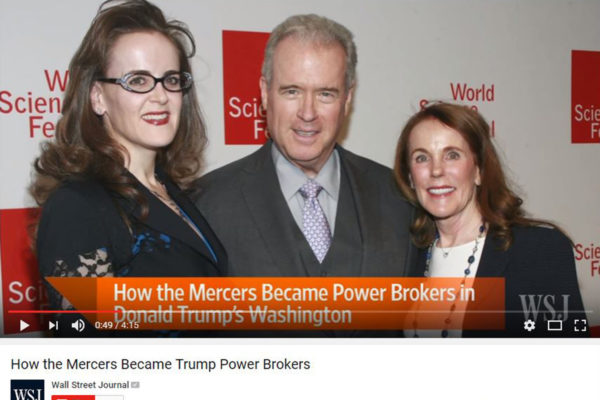 Rebekah, Robert ja Diana Mercer. Ruutukaappaus Wall Street Journalin videolta.