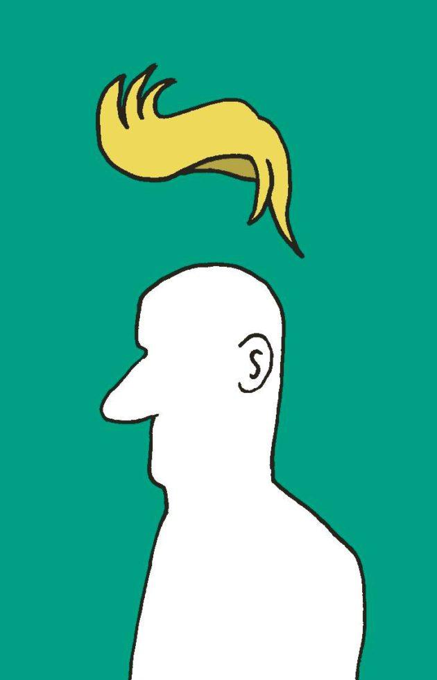Piirroskuva: Trump-tukka mieshahmon yllä.