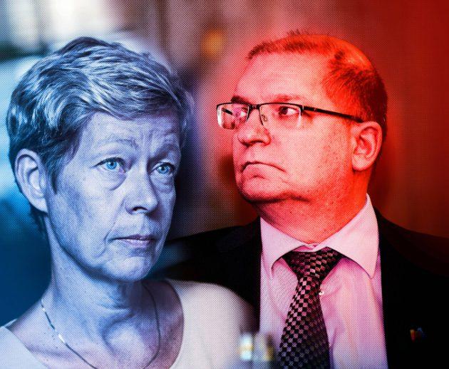 Eeva-Liisa Inkeroinen ja Riku Aalto yrittävät pelastaa vientivetoista palkkamallia.