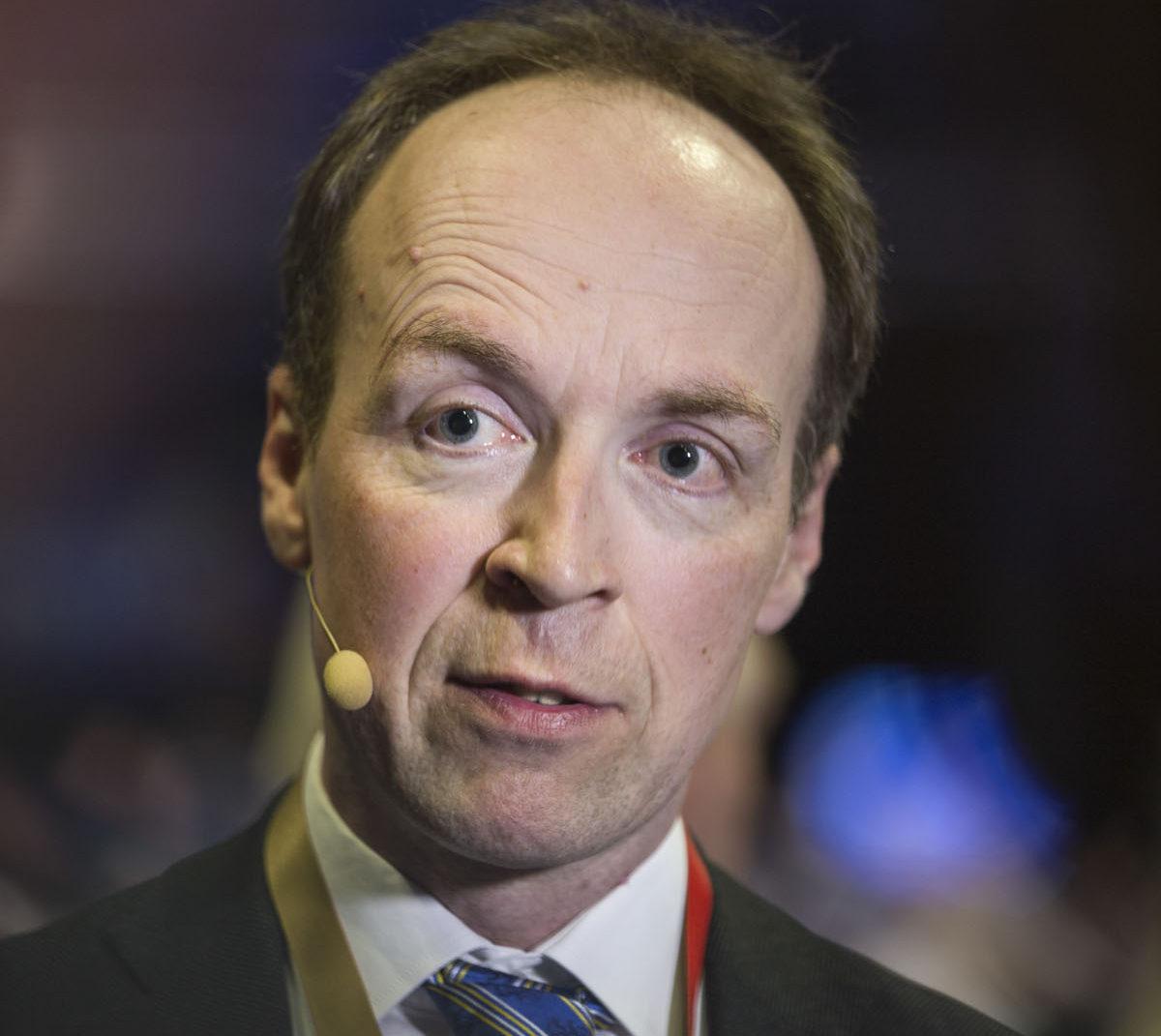 Puolueen uusi puheenjohtaja Jussi Halla-aho perussuomalaisten puoluekokouksessa Jyväskylässä 10. kesäkuuta 2017.