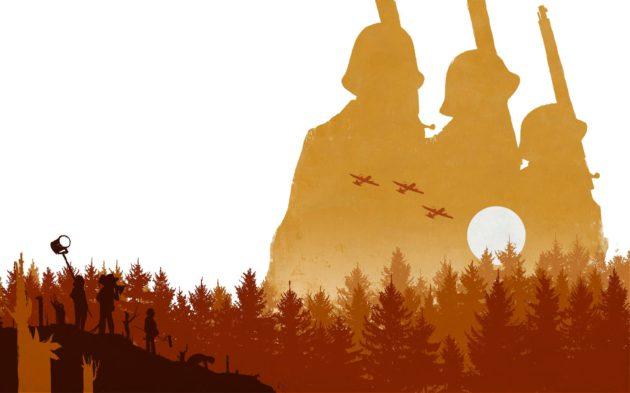 Piirroskuvitus: metsämaisemassa elokuvantekijöitä, taustalla metsän takana kolme seisovaa sotilasta ja viholliskoneita.