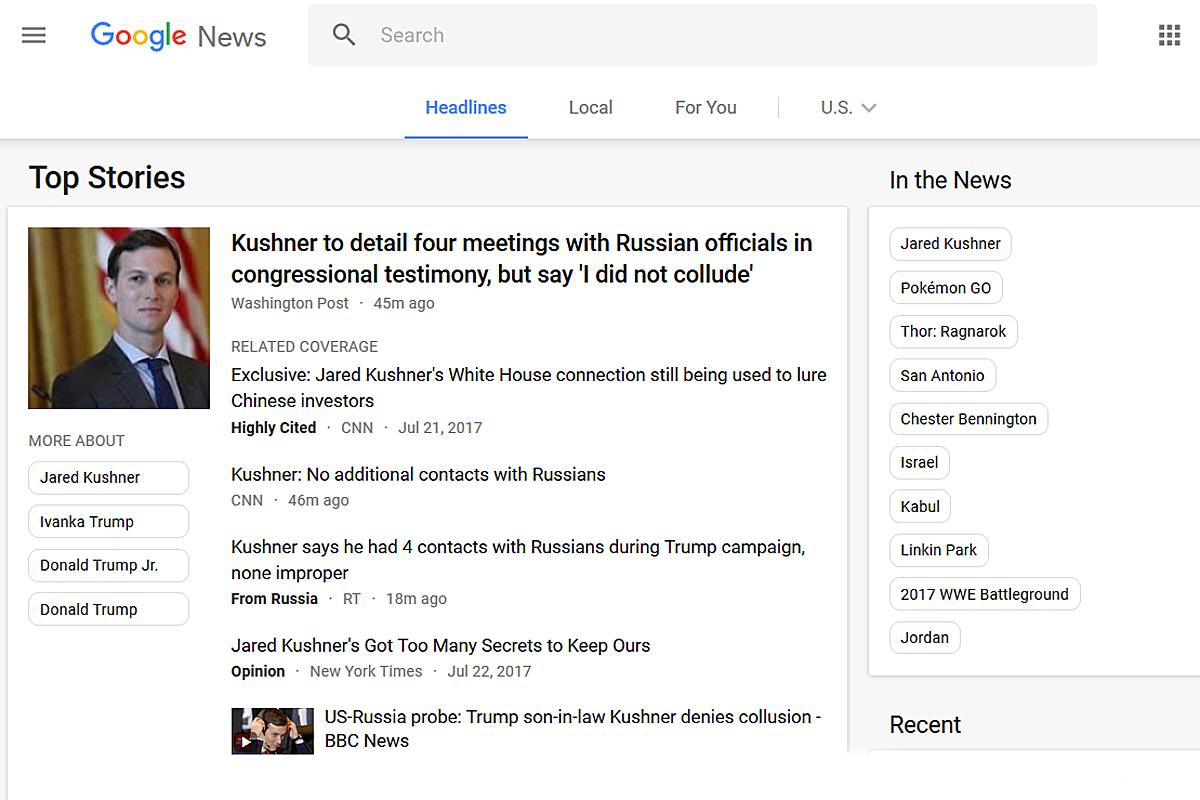 Google News rakentaa käyttäjilleen uutisvirran eri medioiden julkaisemista uutisista. Yhdysvaltain version suosituimmat otsikot liittyivät 24. heinäkuuta 2017 presidentti Donald Trumpin lähipiirin Venäjä-kytköksiin. Kuvakaappaus.