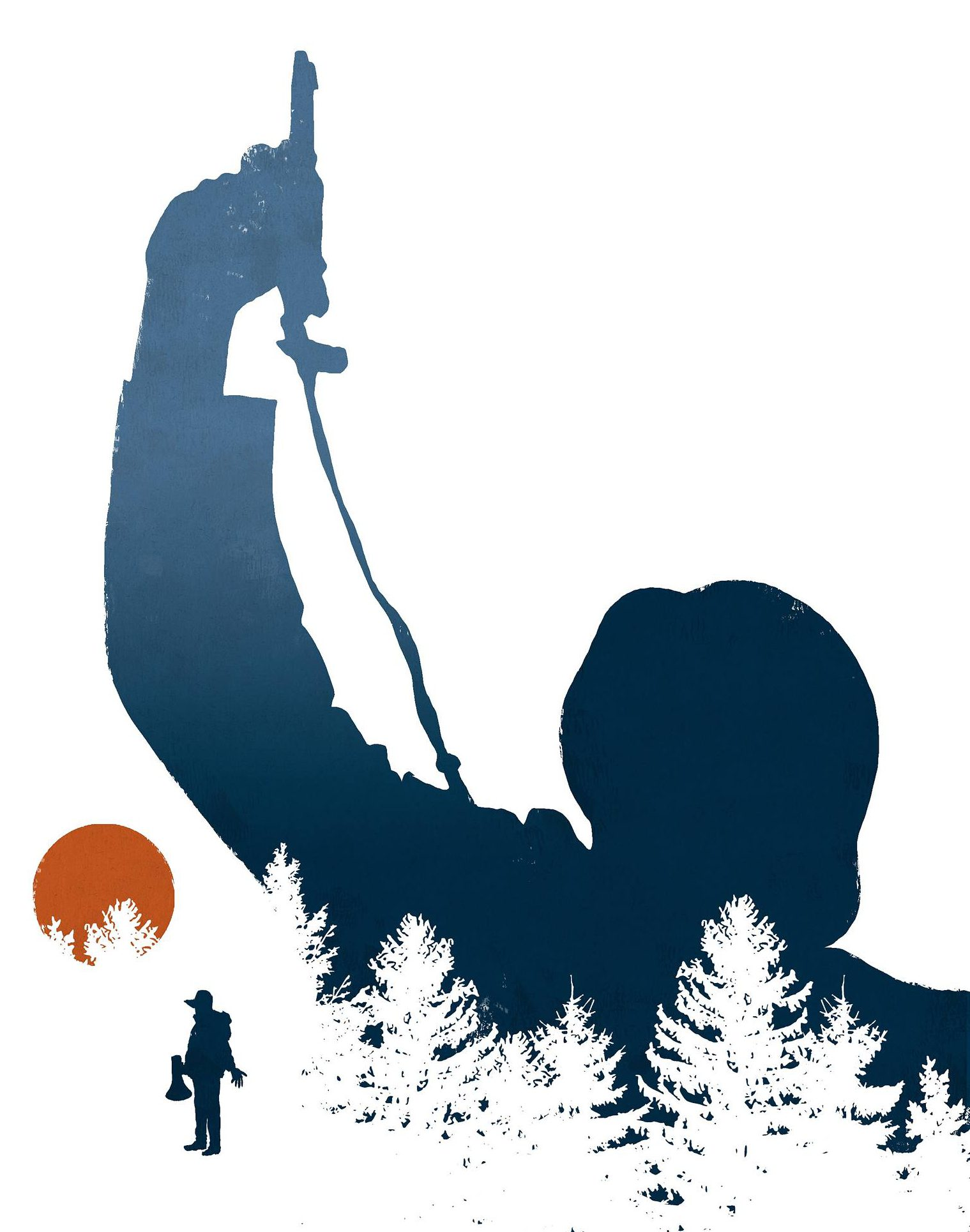 Piirroskuvitus: puiden takaa nousee tuntemattoman sotilaan hahmo, etualalla elokuvantekijä.