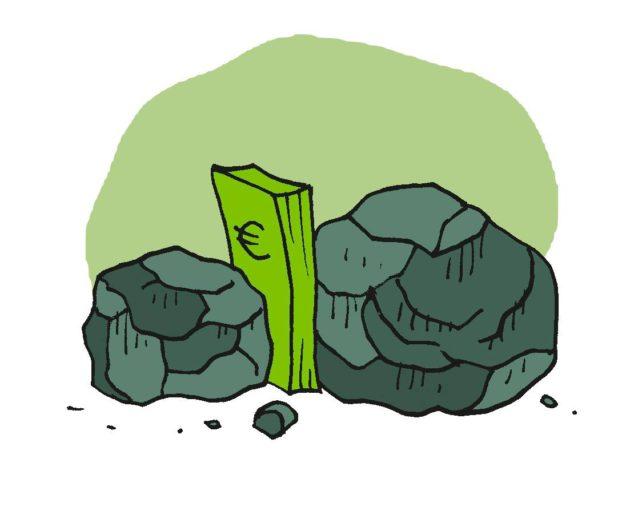 Piirroskuvitus: Setelinippu kivien välissä.