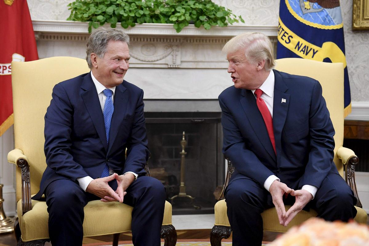Presidentit Sauli Niinistö ja Donald Trump Valkoisessa talossa 28. elokuuta 2017.