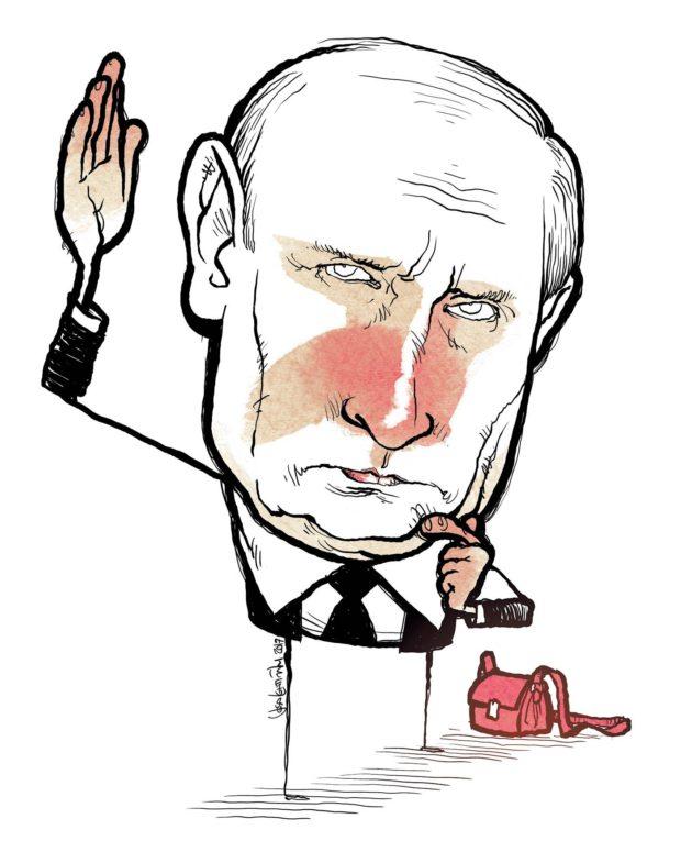 Karikatyyri: Putin. Ydinasesalkku?