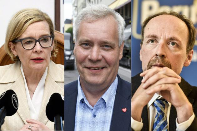 Sisäministeri Paula Risikko (kok), Sdp:n puheenjohtaja Antti Rinne ja perussuomalaisten puheenjohtaja Jussi Halla-aho.