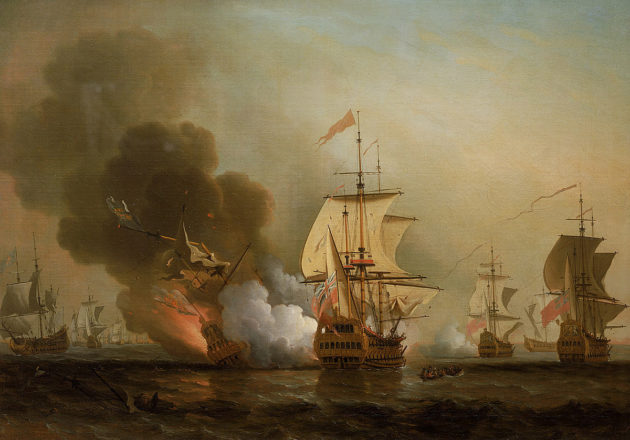 San Josén tuho taiteilijan silmin. Samuel Scott: Wager's Action off Cartagena, 28 May 1708 (1743–1747).
