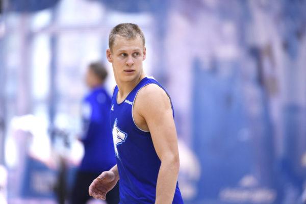 Sasu Salin koripallon A-maajoukkueen harjoituksissa Lohjalla keskiviikkona 23. elokuuta 2017.