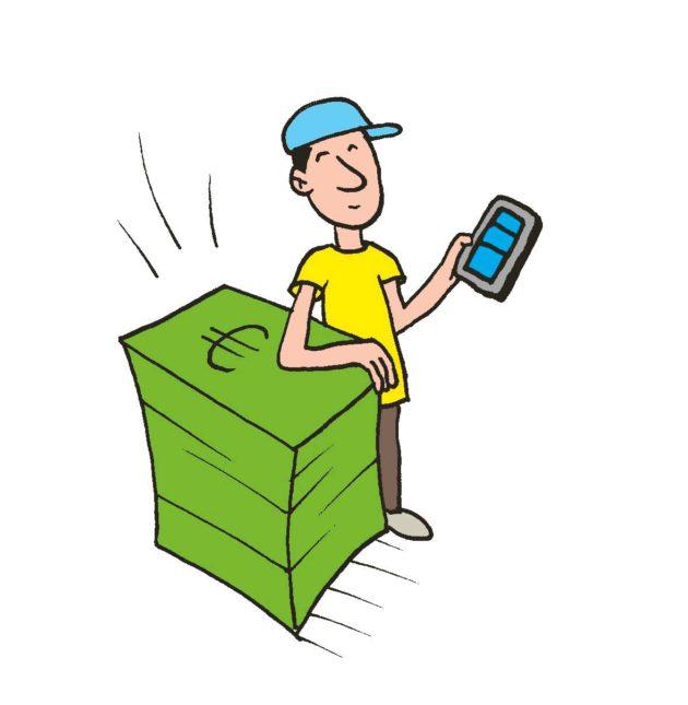 Piirroskuvitus: mies älypuhelin kädessä setelipinon vieressä.