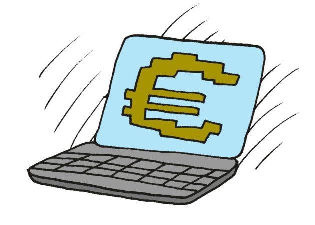 Piirroskuvitus: Läppärin näytöllä iso euron merkki.