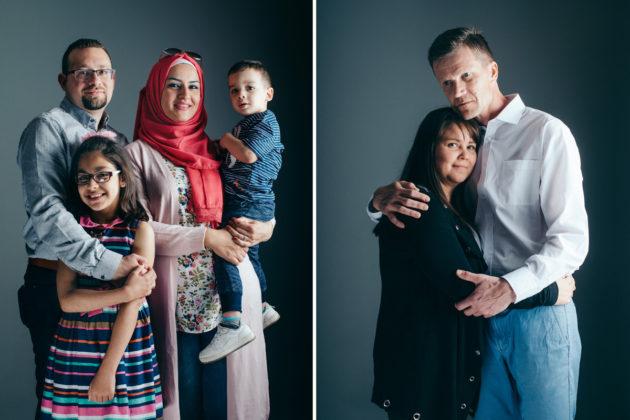 Vasemmassa kuvassa Syyriasta kotoisin olevat Hany Abdulrahim, Ayla Abdulrahim, Yasmin Kassab Abdulrahim ja Mohammed Sami Abdulrahim. Oikealla Hanna Forssell & Jarmo Heikkeri.