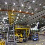Boeing 777 koottavana Everettissä Washingtonin osavaltiossa 12. heinäkuuta 2017.