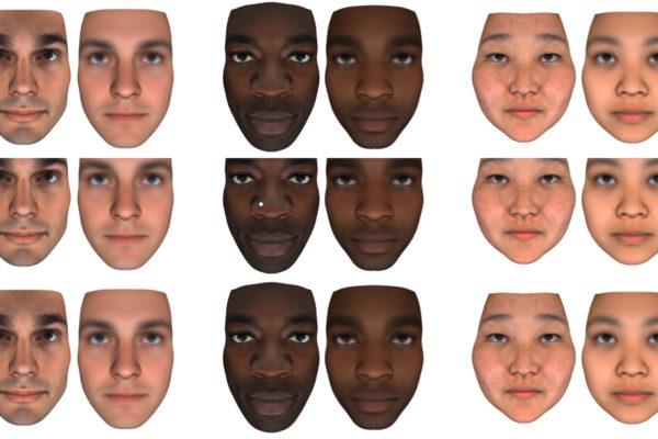 Vasemmalla henkilöiden oikeat kasvokuvat, oikealla tekoälyn geenien perusteella laskemat.