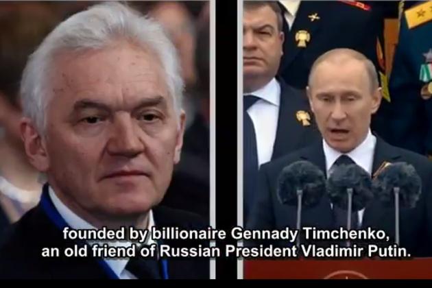 Gennadi Timtšenko ja Vladimir Putin Public Eyen videolla. Kuvakaappaus.