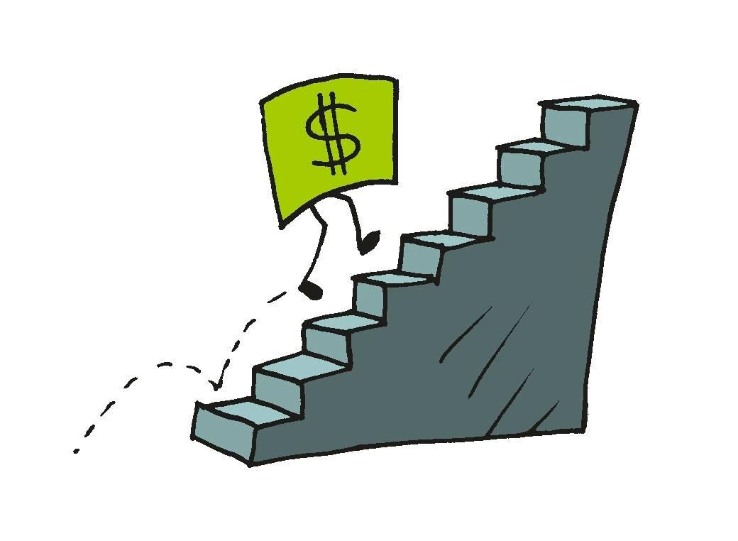 Piirroskuvitus: Dollarin seteli, jolla on jalat, kipittää jyrkkiä portaita ylös.