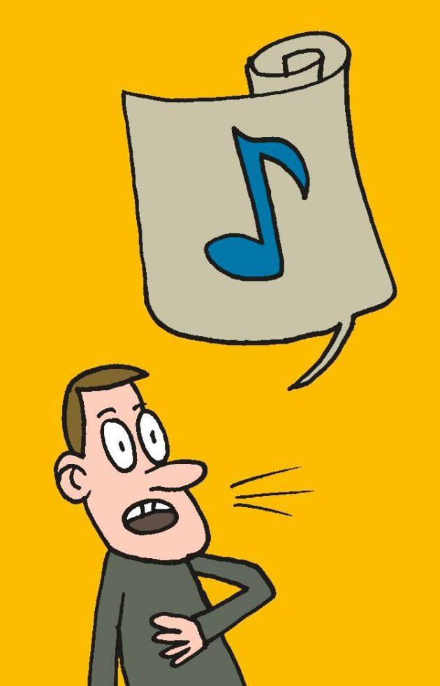 Piirroskuvitus: Mies laulaa. Puhekuplassa, joka on kuin papyruskääre, on nuotti.