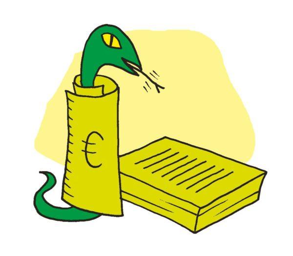 Piirroskuvitus: käärme setelin sisällä.