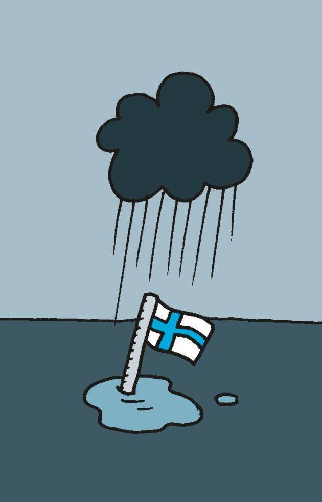 Piirroskuvitus: musta pilvi sataa vain Suomen lipun kohdalla.