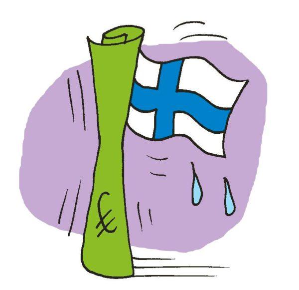 Piirroskuvitus: Euron setelissä itkevä Suomen lippu.