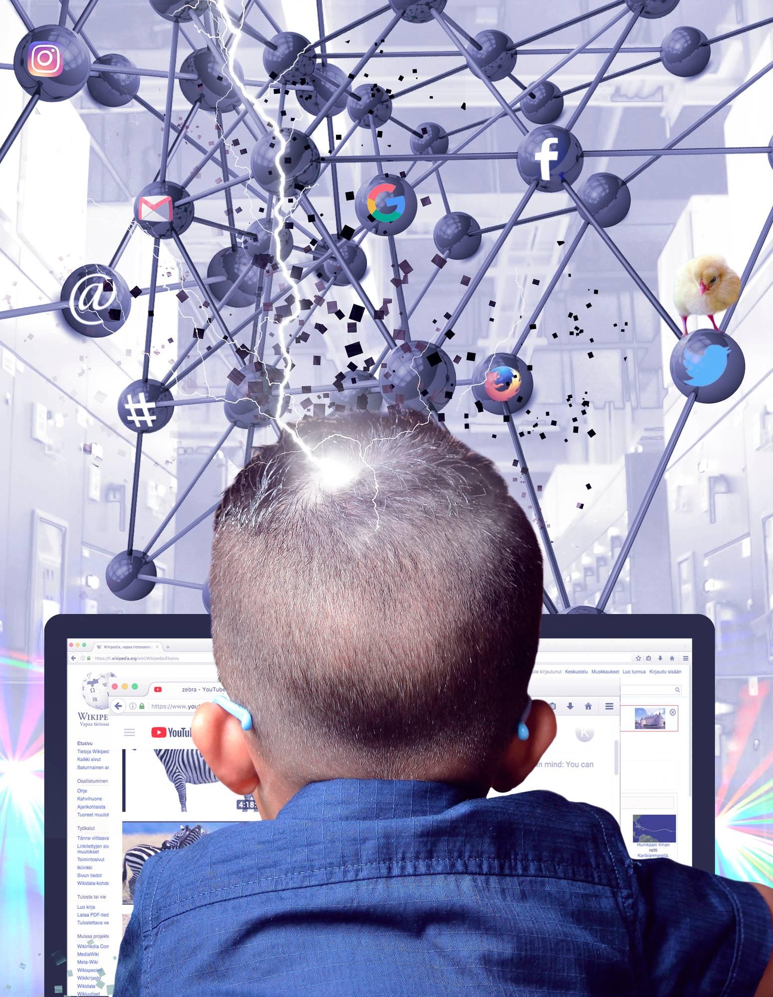 Kuvituskuva: Oppilas työskentelee tietokoneella, jonka takana näkyy digitaalinen verkko, jossa on erilaisia sovelluskuvakkeita.