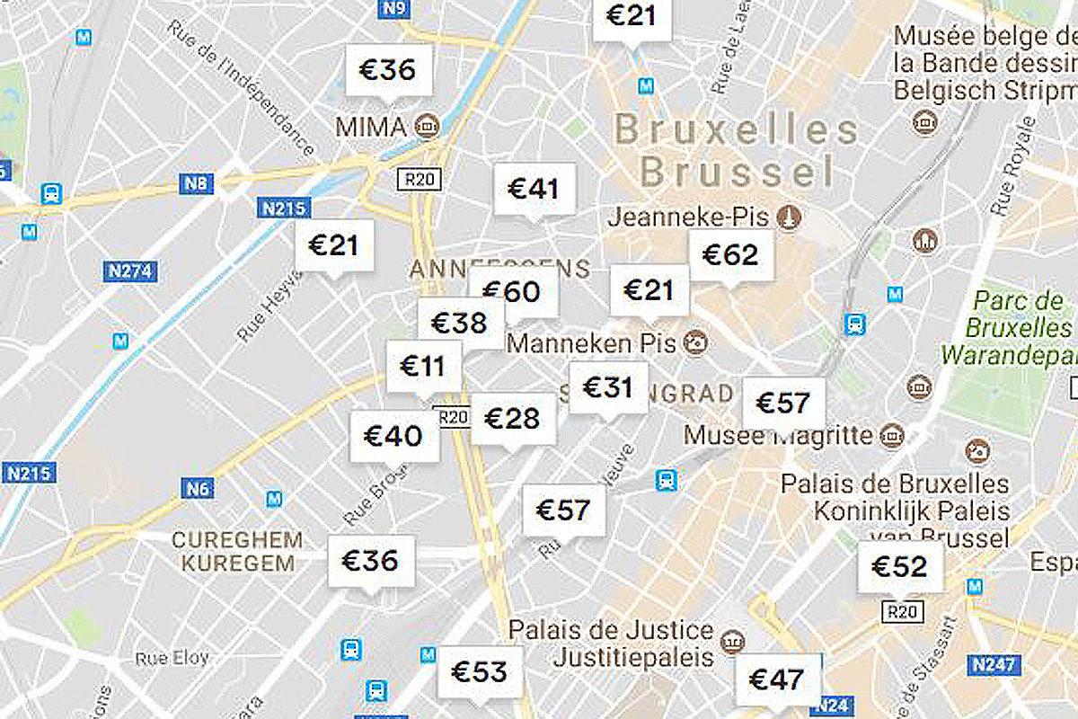 Ruutukaappaus Airbnb:n verkkosivustolta Brysselissä sijaitsevista majapaikoista.