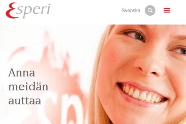 Esperi Care -yhtiön etusivu netissä. Ruutukaappaus.