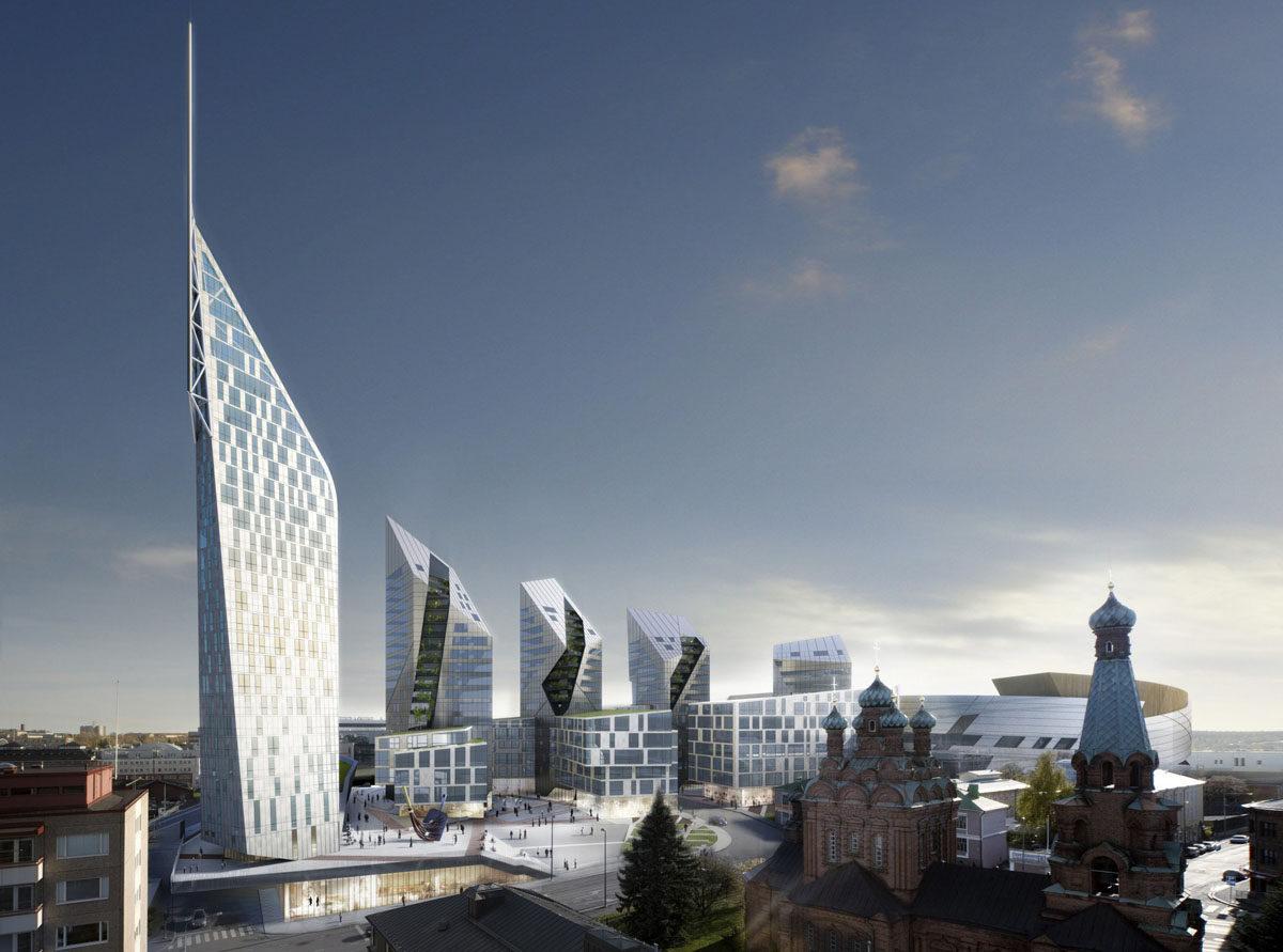 Havainnekuva Tampereelle suunnitellusta Kansi ja Areena -hankkeesta.