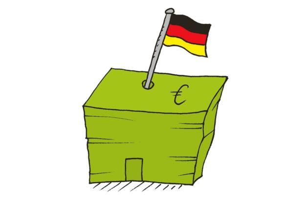 Piirroskuvitus: Eurosetelien pinossa liehuu Saksan lippu.